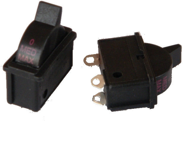 Black On Off Electric Power Switch With 3 Terminals 125/250VAC 24A/12A