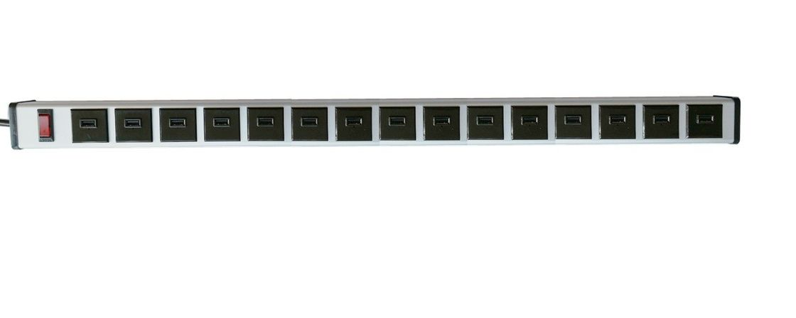 Universal 15 Port USB Surge Protector Power Strip With Safety On / Off Switch