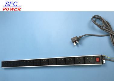 Standard Ground 12 UK Outlet European Power Strip Exterier Earth Wire Dengan Switch